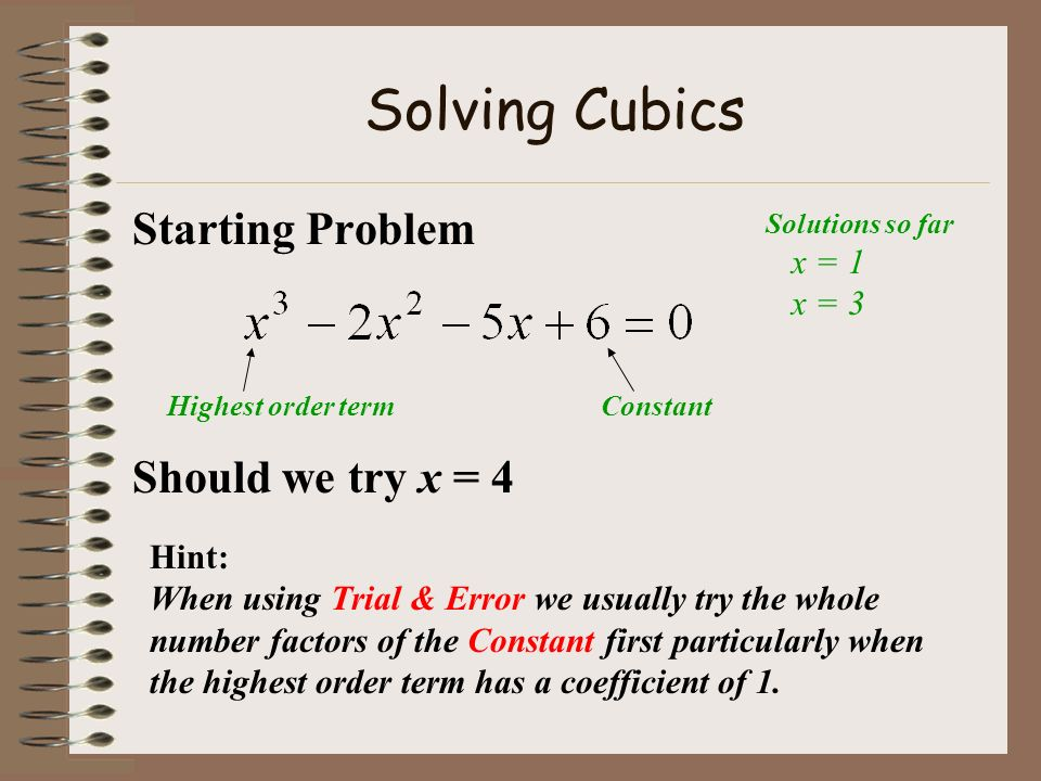 Solving Cubics Starting Problem Should we try x = 4 x = 1 x = 3 Hint: