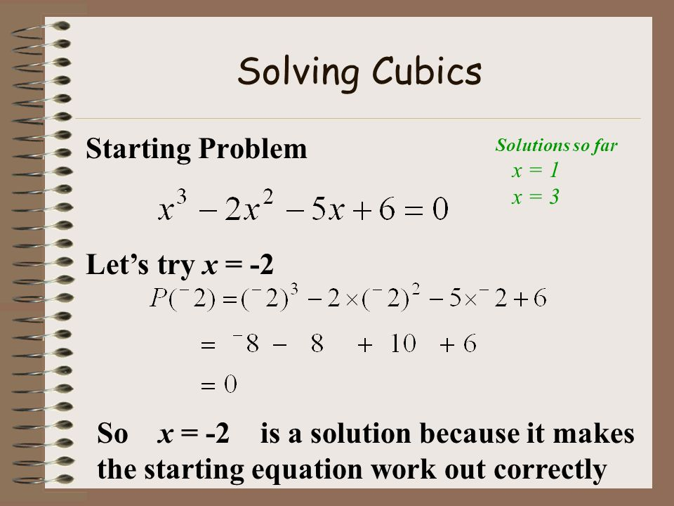 Solving Cubics Starting Problem Let's try x = -2