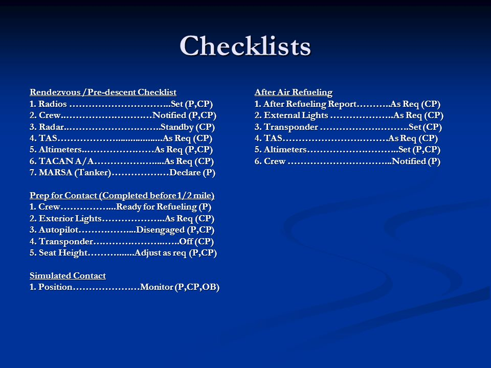 Checklists Rendezvous /Pre-descent Checklist