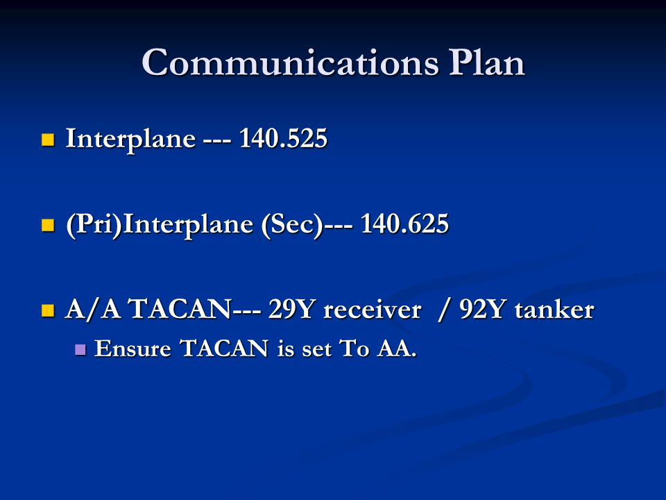 Communications Plan Interplane --- 140.525