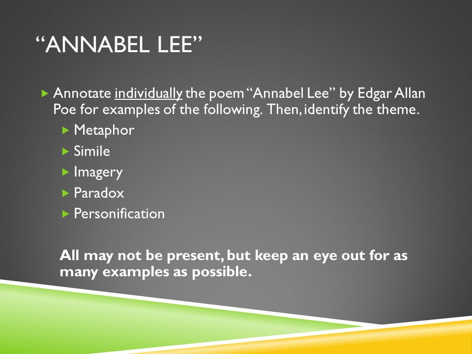 Annabel Lee Annotate individually the poem Annabel Lee by Edgar Allan Poe for examples of the following. Then, identify the theme.