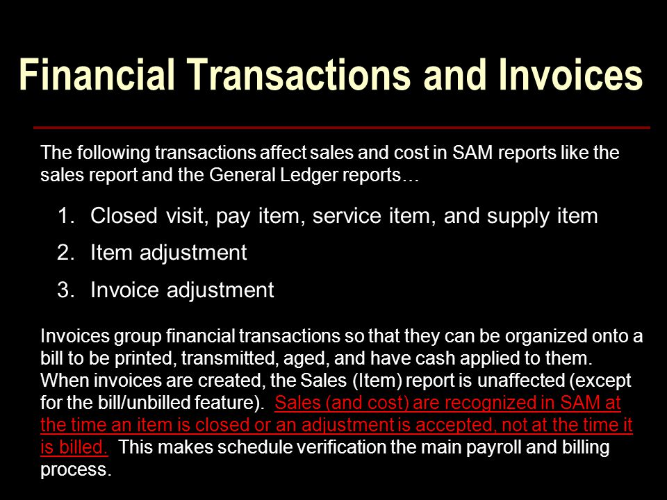 Financial Transactions and Invoices