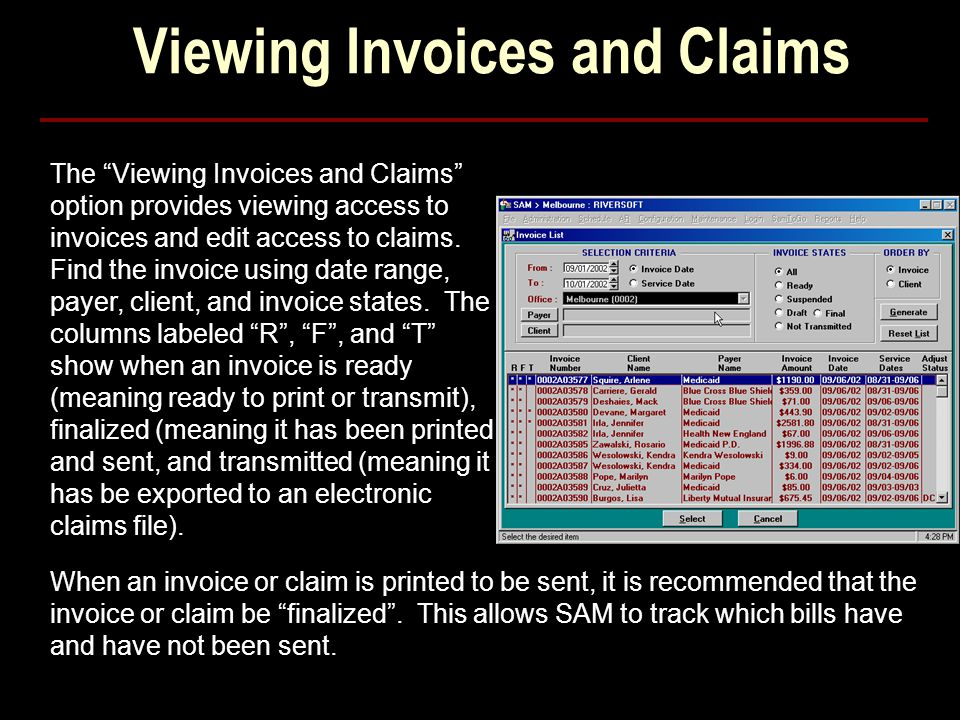 Viewing Invoices and Claims