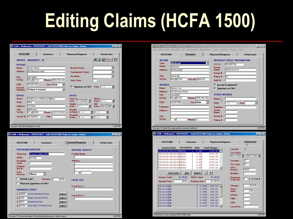 Editing Claims (HCFA 1500)
