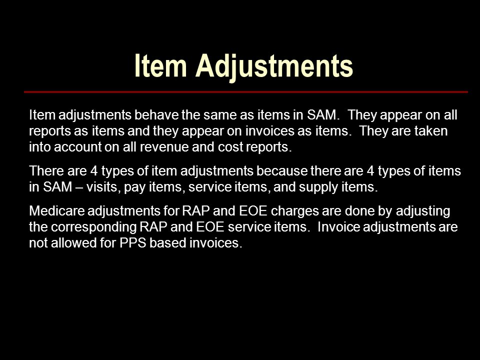 Item Adjustments
