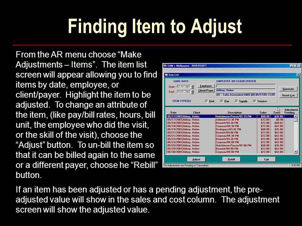 Finding Item to Adjust