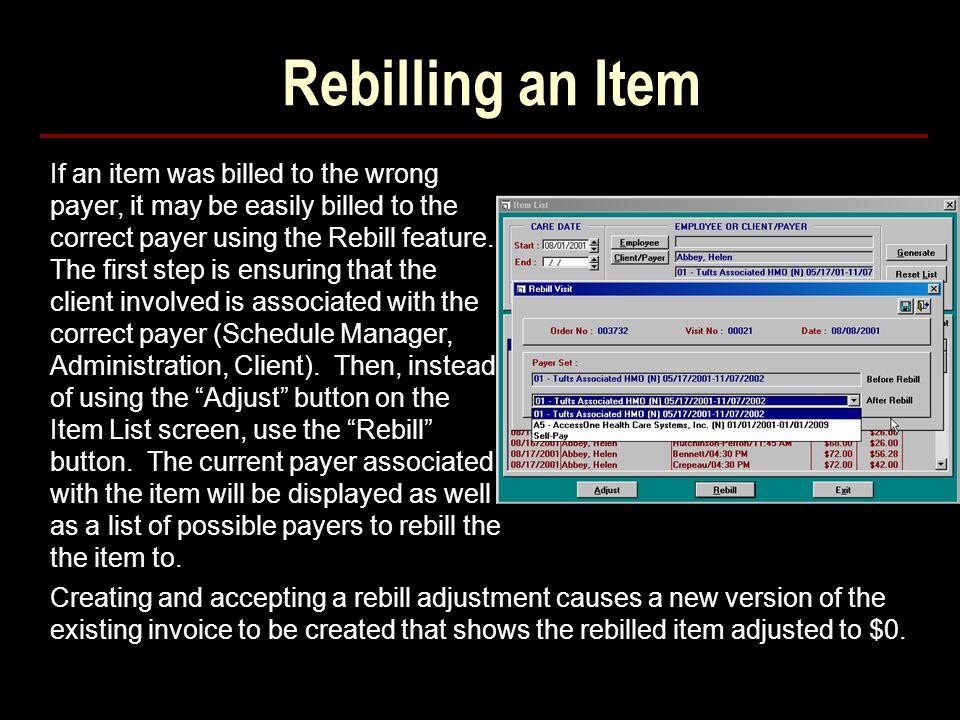 Rebilling an Item