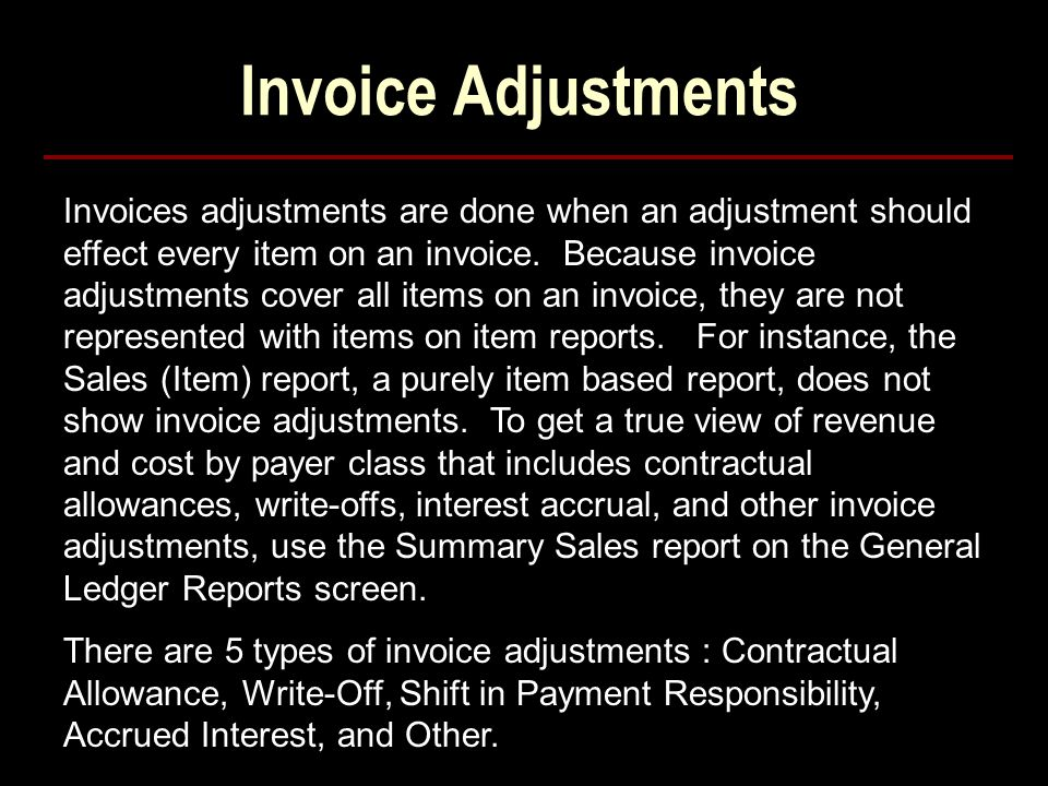 Invoice Adjustments