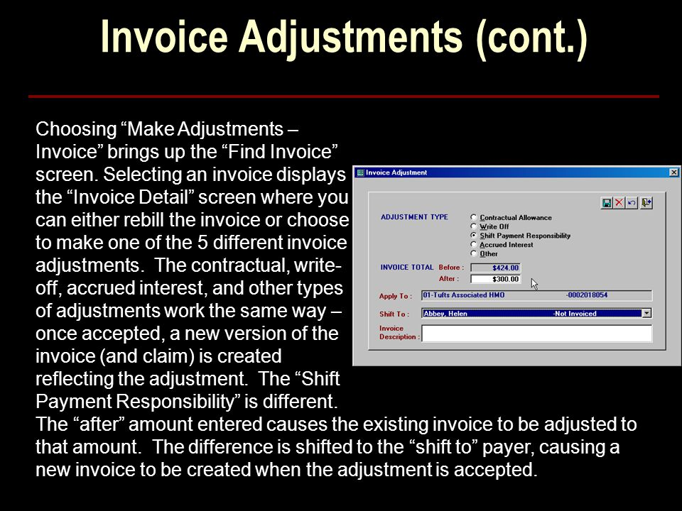 Invoice Adjustments (cont.)