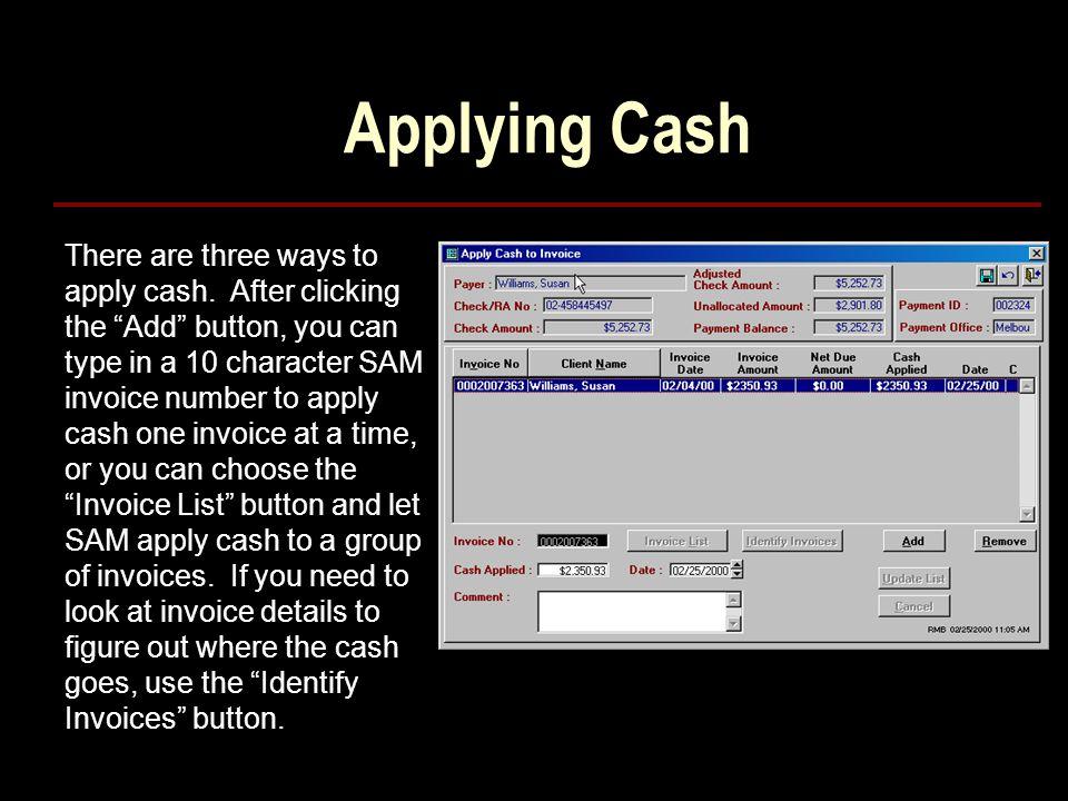 Applying Cash