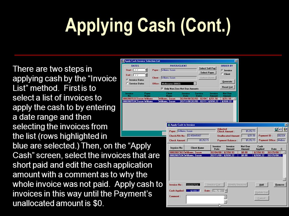 Applying Cash (Cont.)