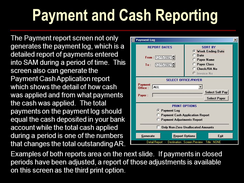 Payment and Cash Reporting