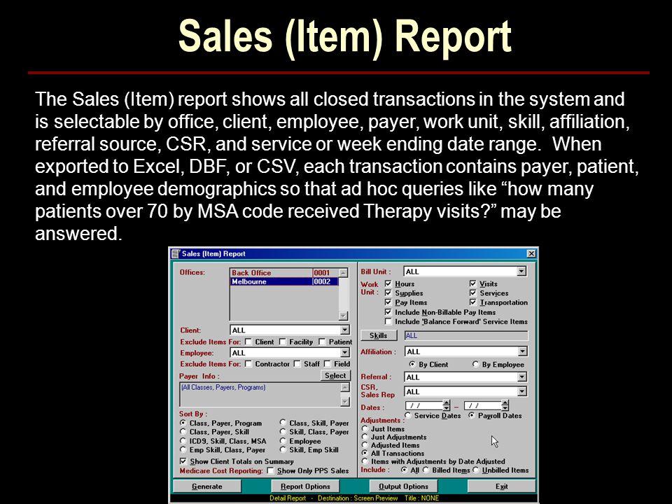 Sales (Item) Report