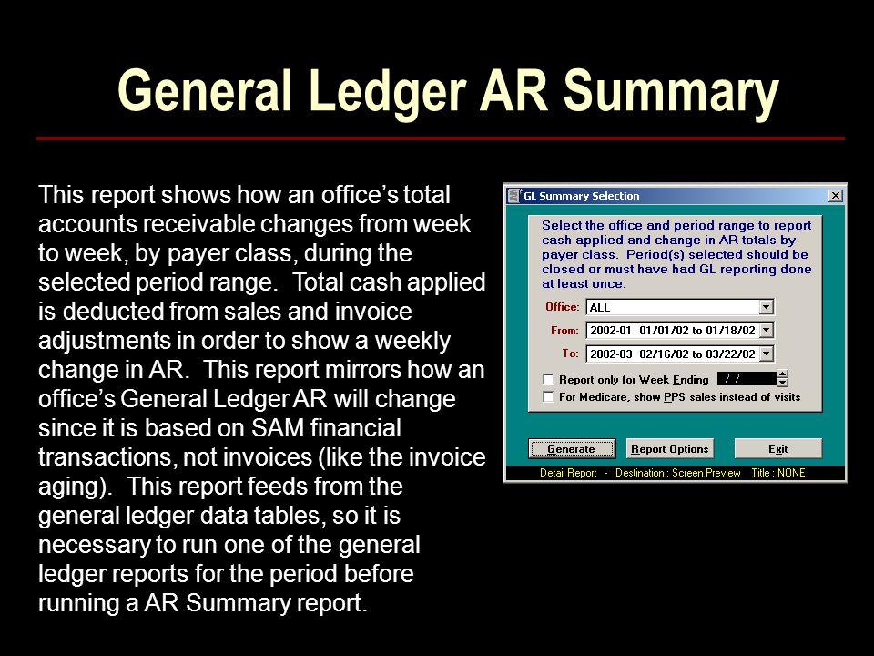 General Ledger AR Summary