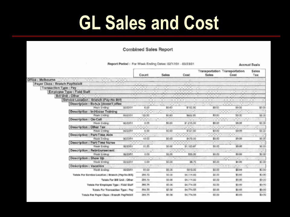 GL Sales and Cost