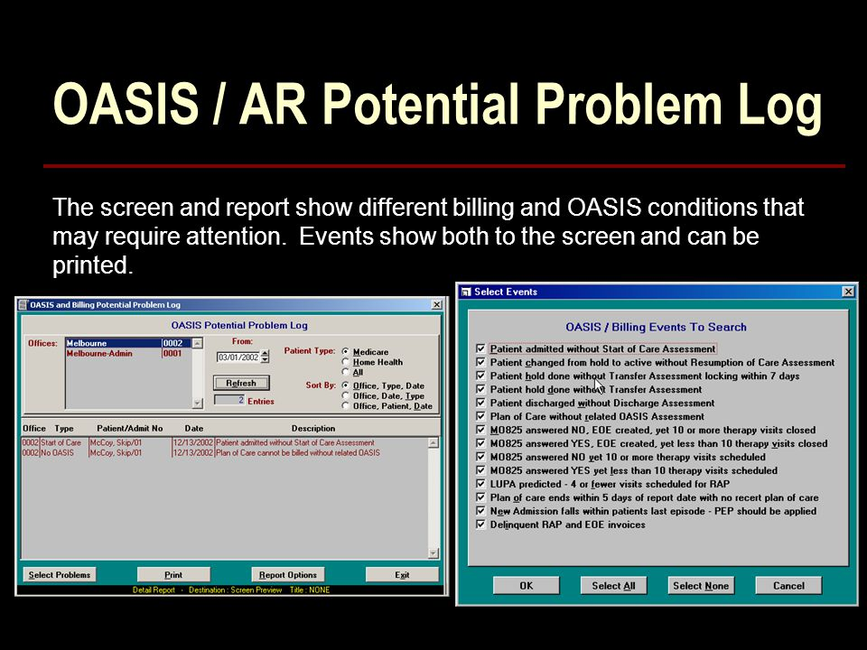 OASIS / AR Potential Problem Log