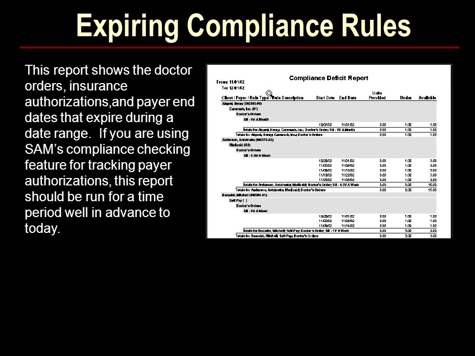 Expiring Compliance Rules