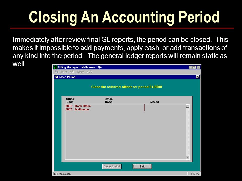 Closing An Accounting Period