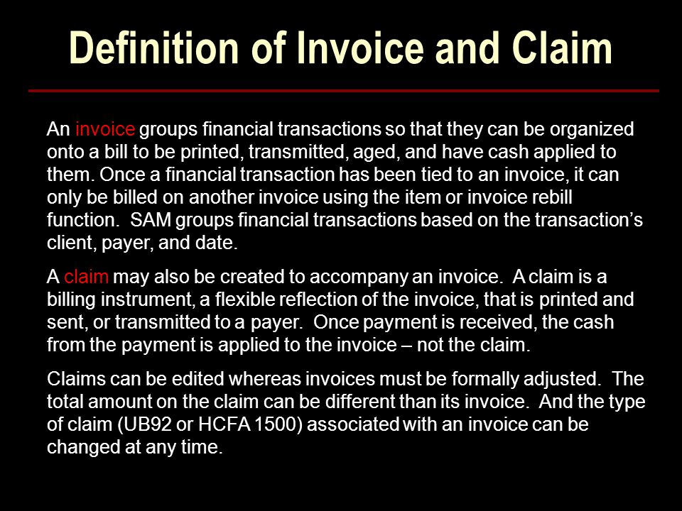 Definition of Invoice and Claim