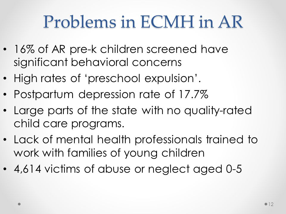 Problems in ECMH in AR 16% of AR pre-k children screened have significant behavioral concerns. High rates of 'preschool expulsion'.