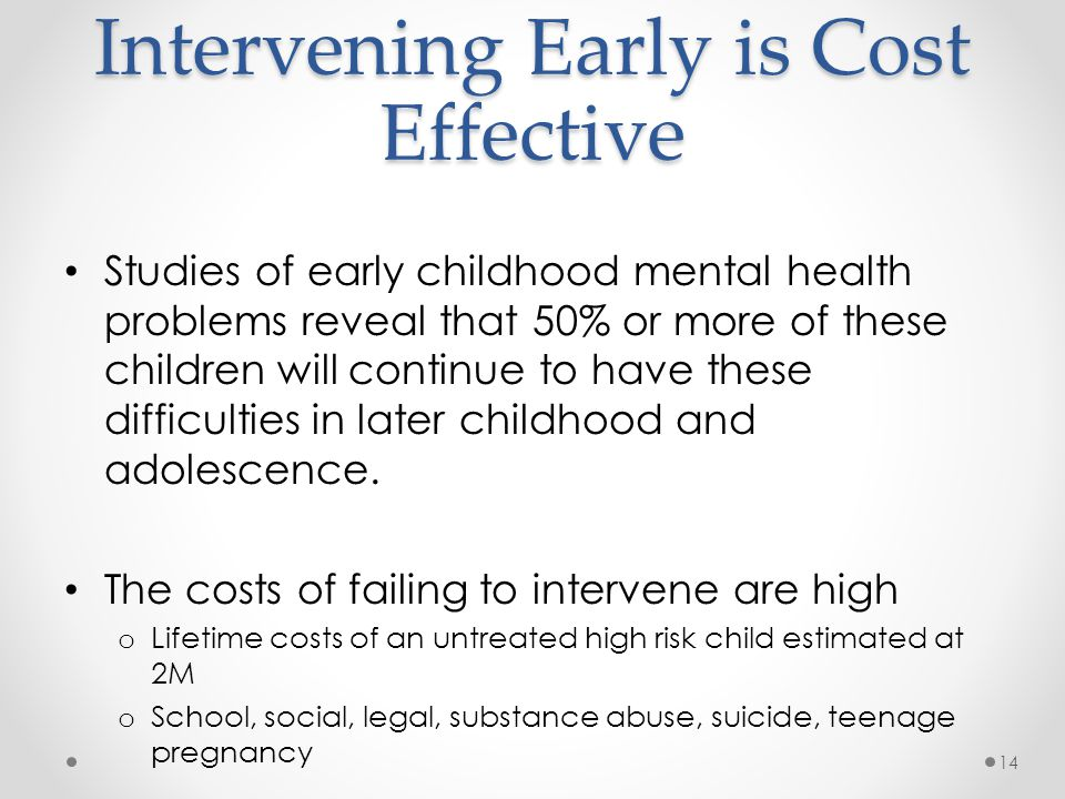 Intervening Early is Cost Effective