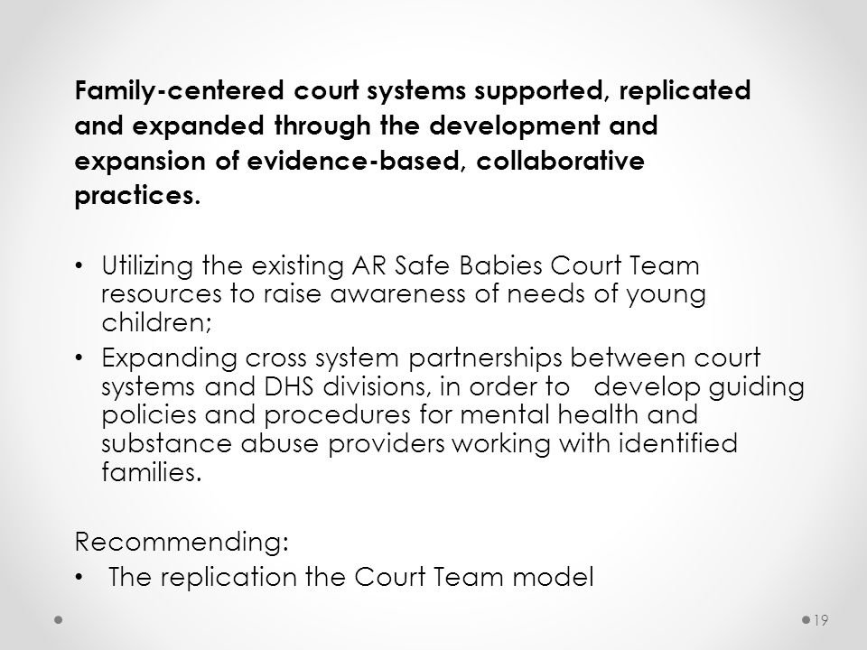 Family-centered court systems supported, replicated