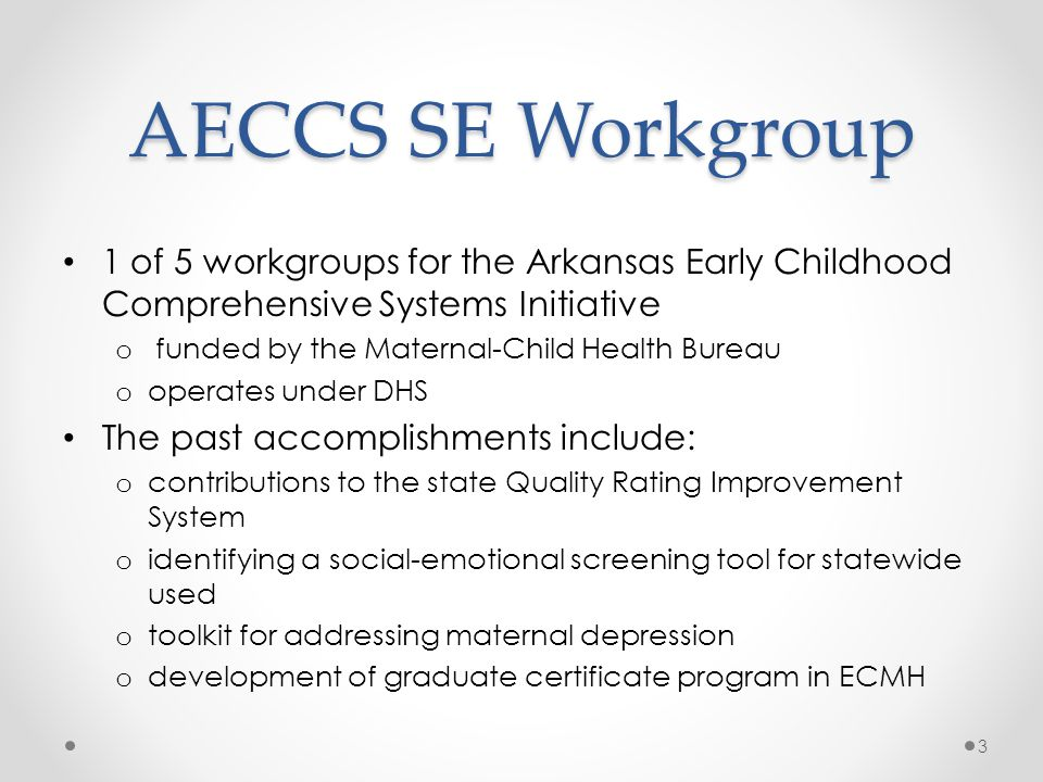 AECCS SE Workgroup 1 of 5 workgroups for the Arkansas Early Childhood Comprehensive Systems Initiative.