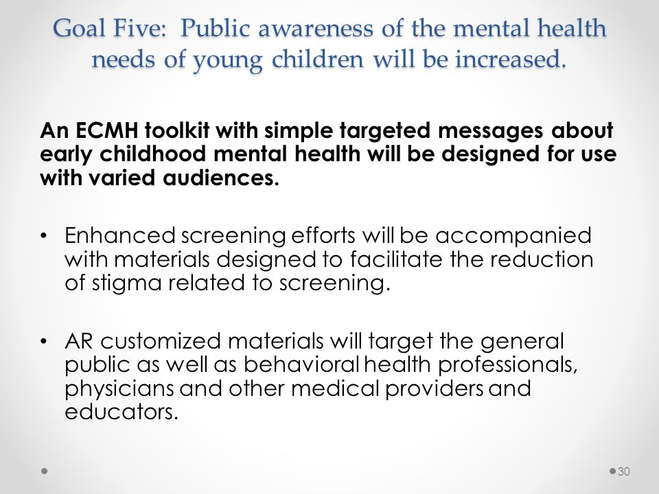 Goal Five: Public awareness of the mental health needs of young children will be increased.