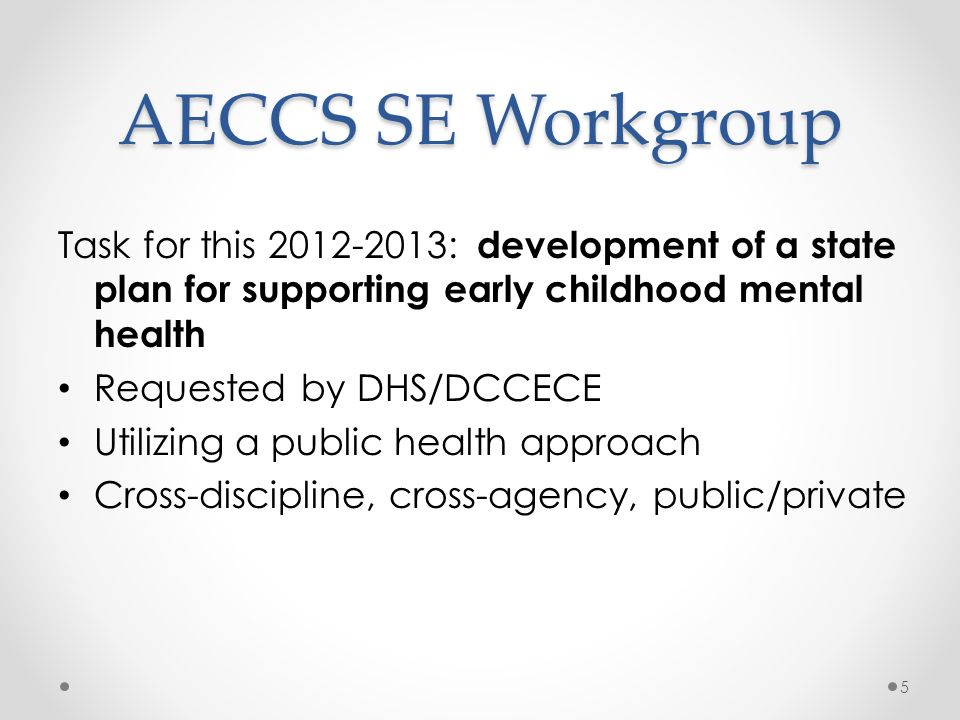 AECCS SE Workgroup Task for this 2012-2013: development of a state plan for supporting early childhood mental health.