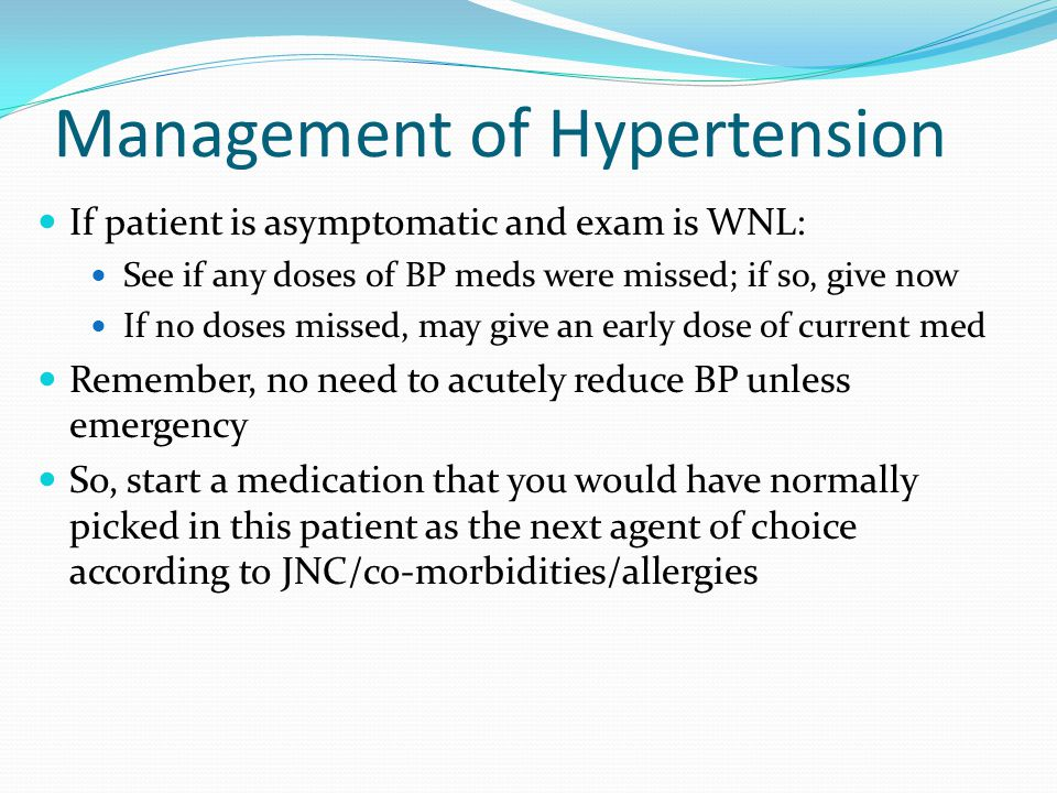Management of Hypertension