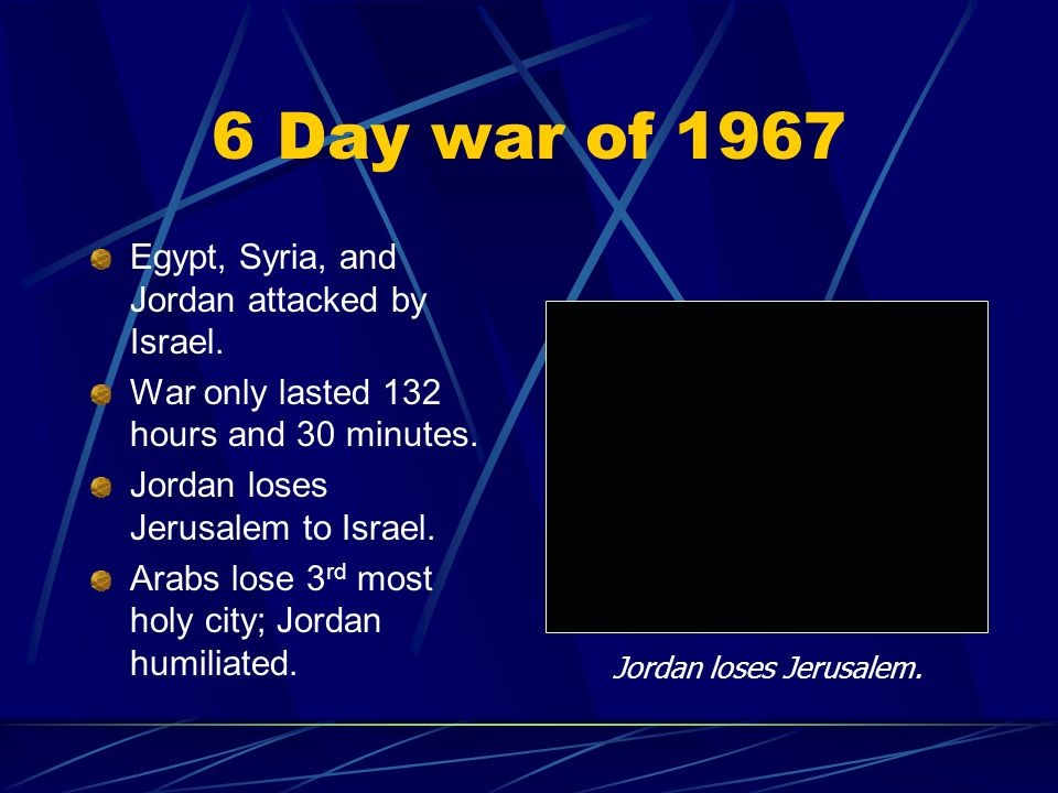 Jordan loses Jerusalem.