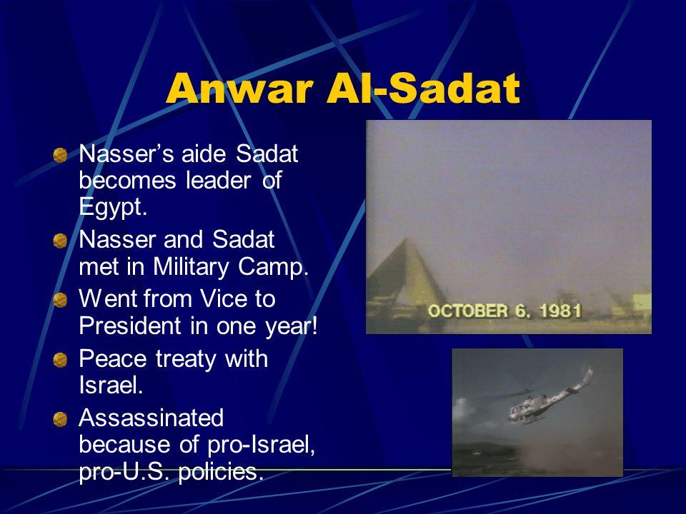 Anwar Al-Sadat Nasser's aide Sadat becomes leader of Egypt.