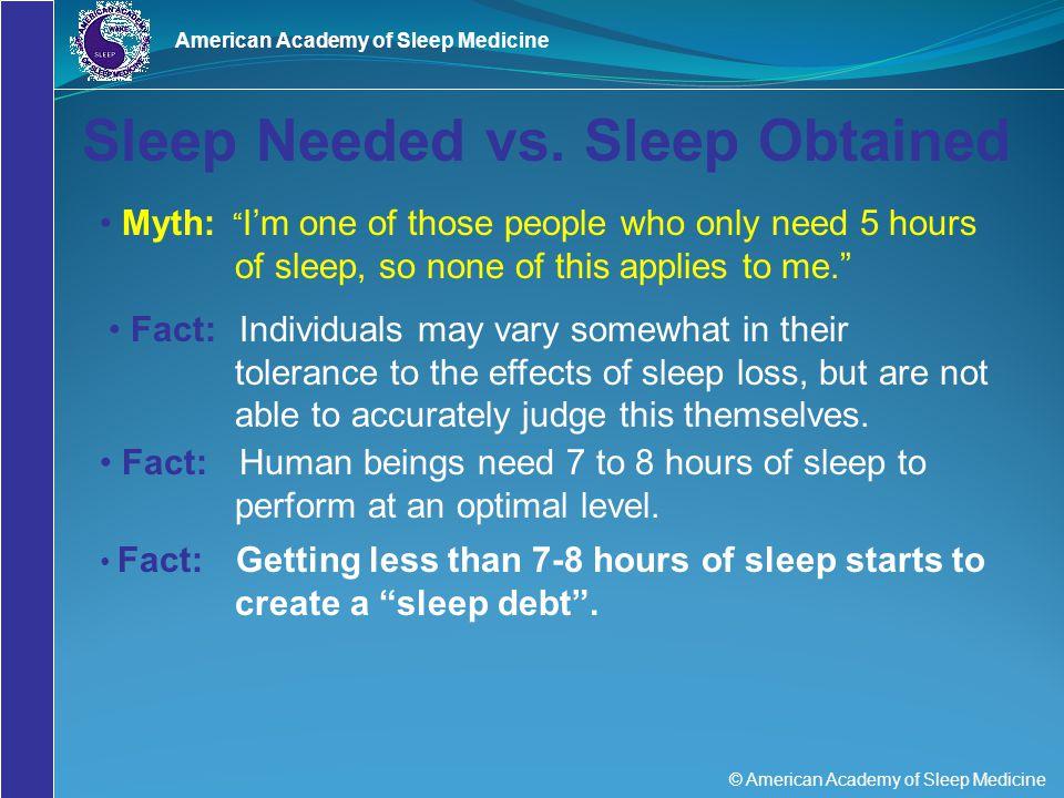Sleep Needed vs. Sleep Obtained