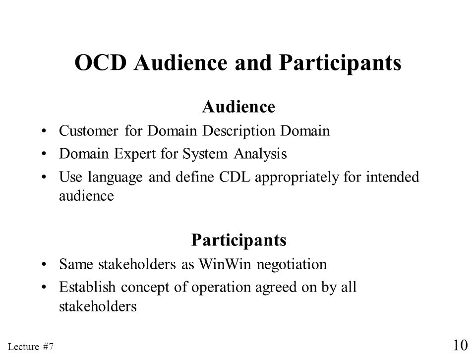 OCD Audience and Participants