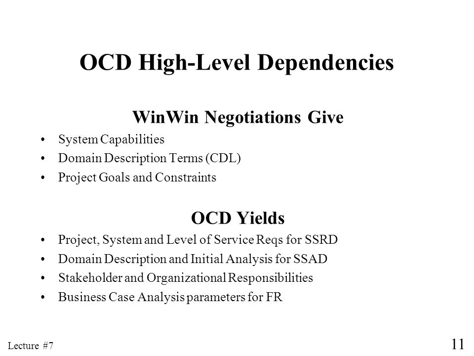 OCD High-Level Dependencies