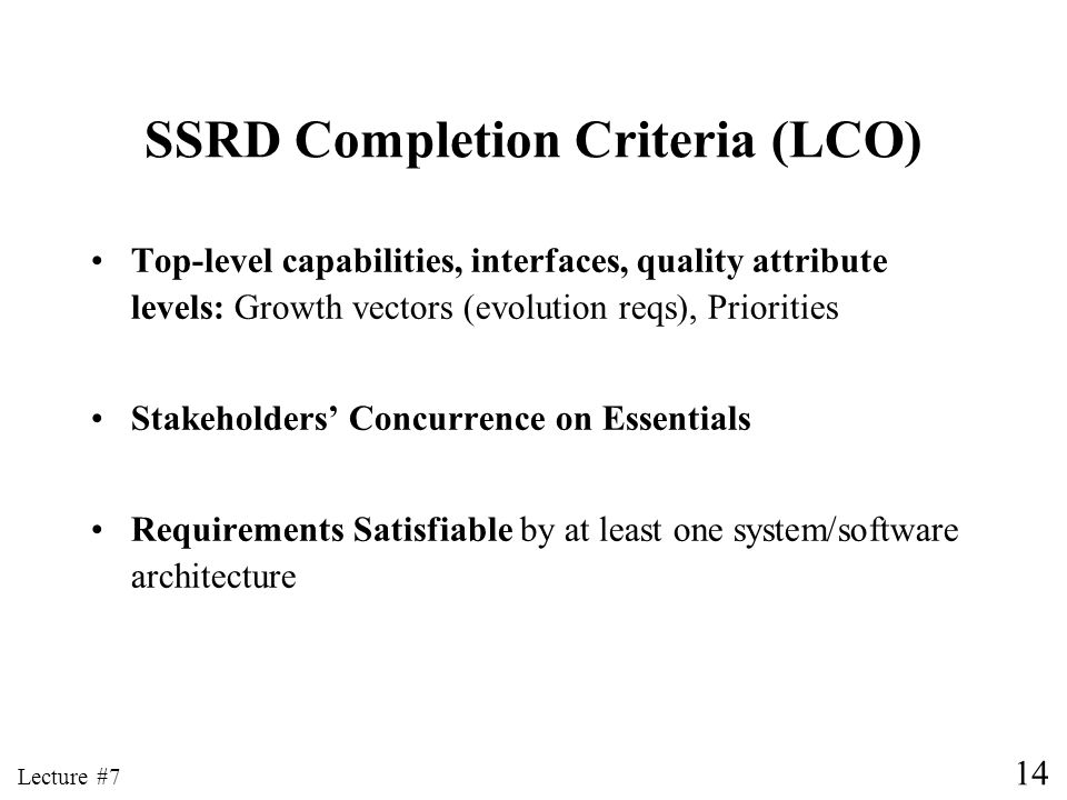 SSRD Completion Criteria (LCO)