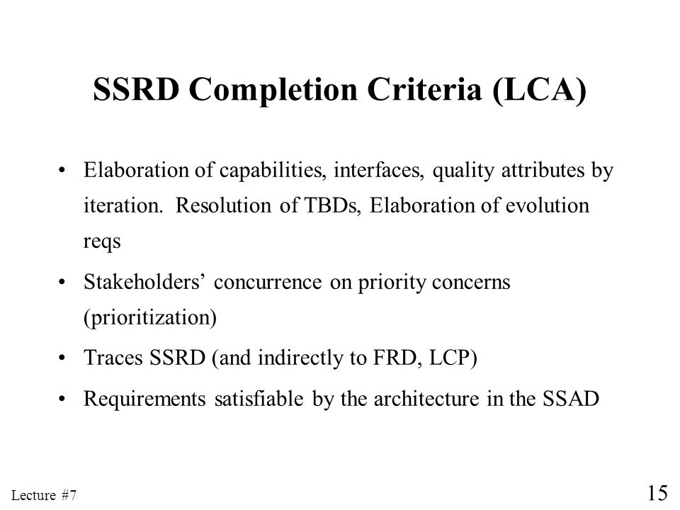 SSRD Completion Criteria (LCA)
