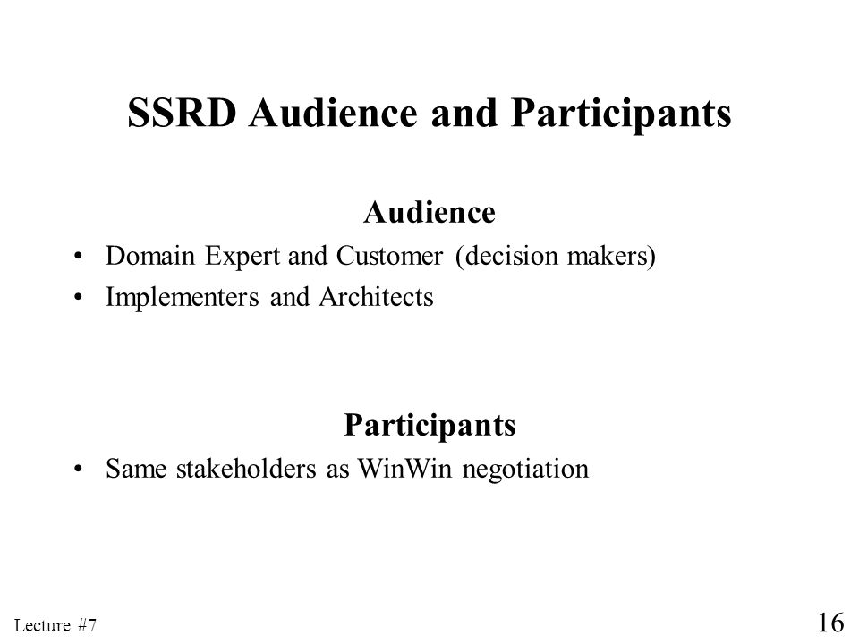 SSRD Audience and Participants