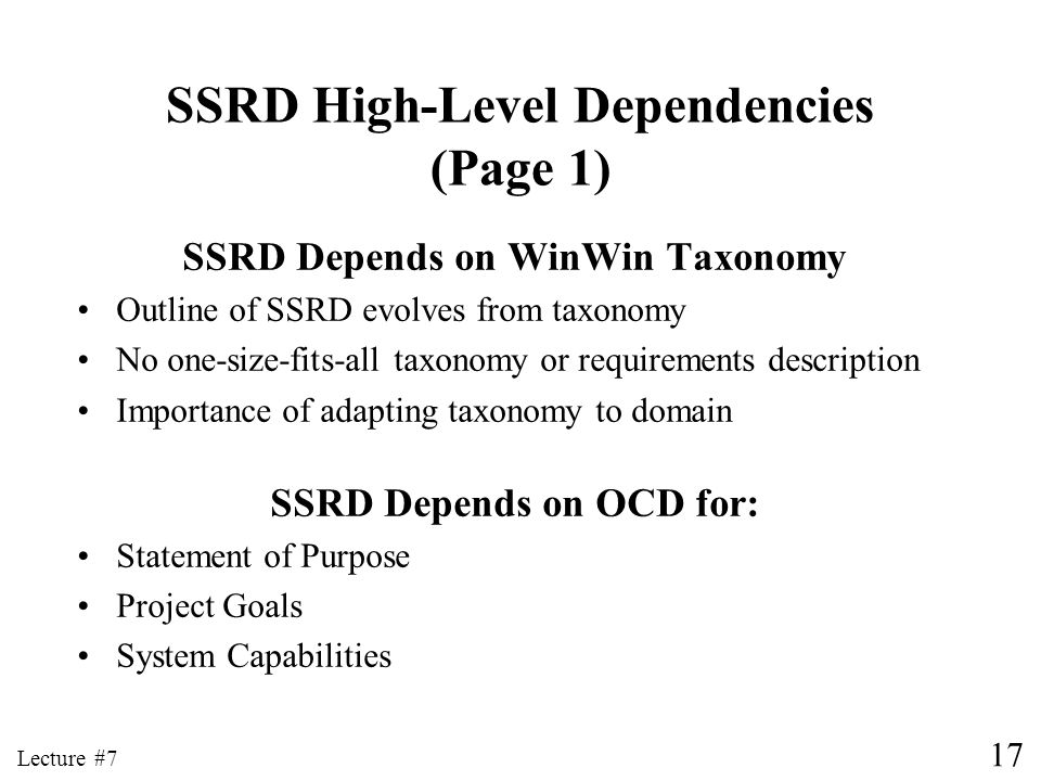 SSRD High-Level Dependencies (Page 1)