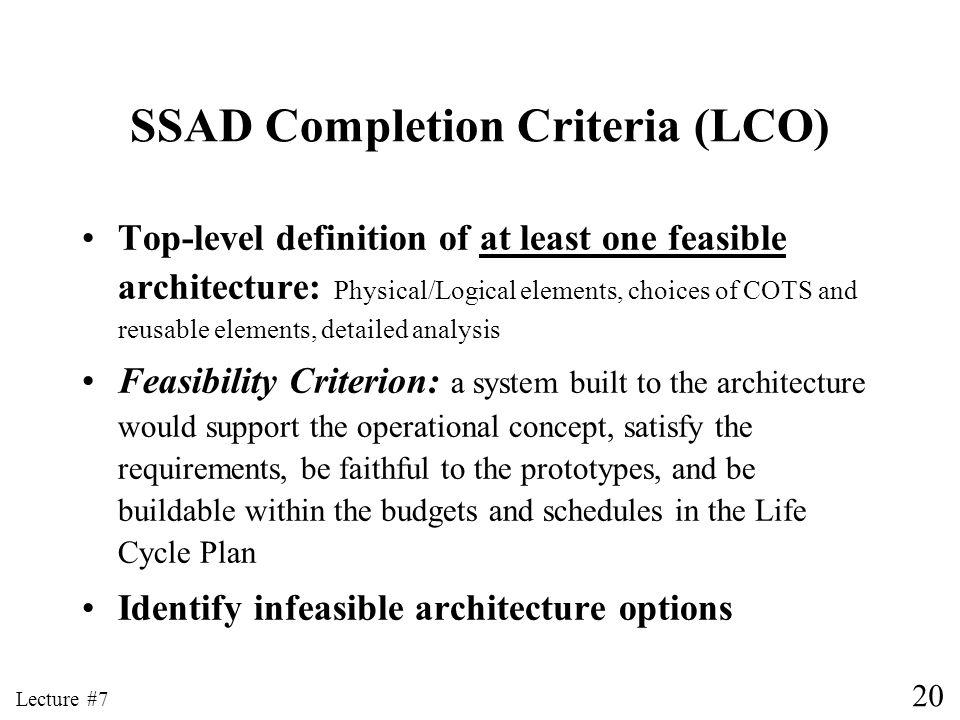 SSAD Completion Criteria (LCO)