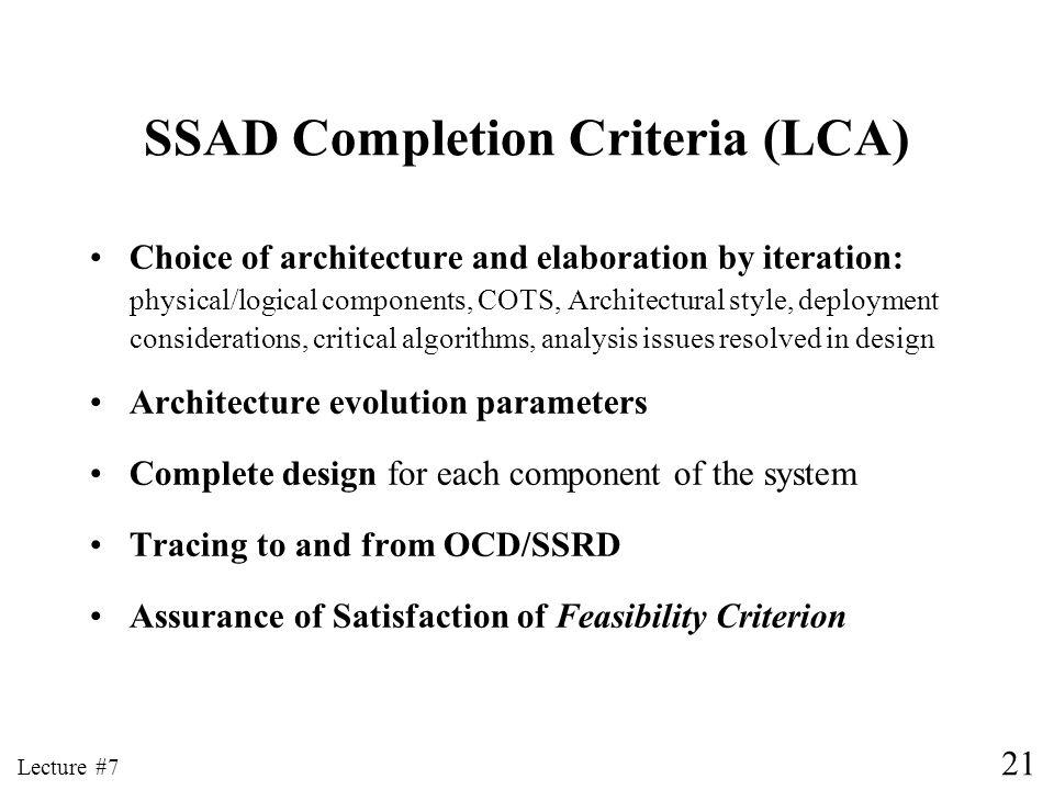 SSAD Completion Criteria (LCA)