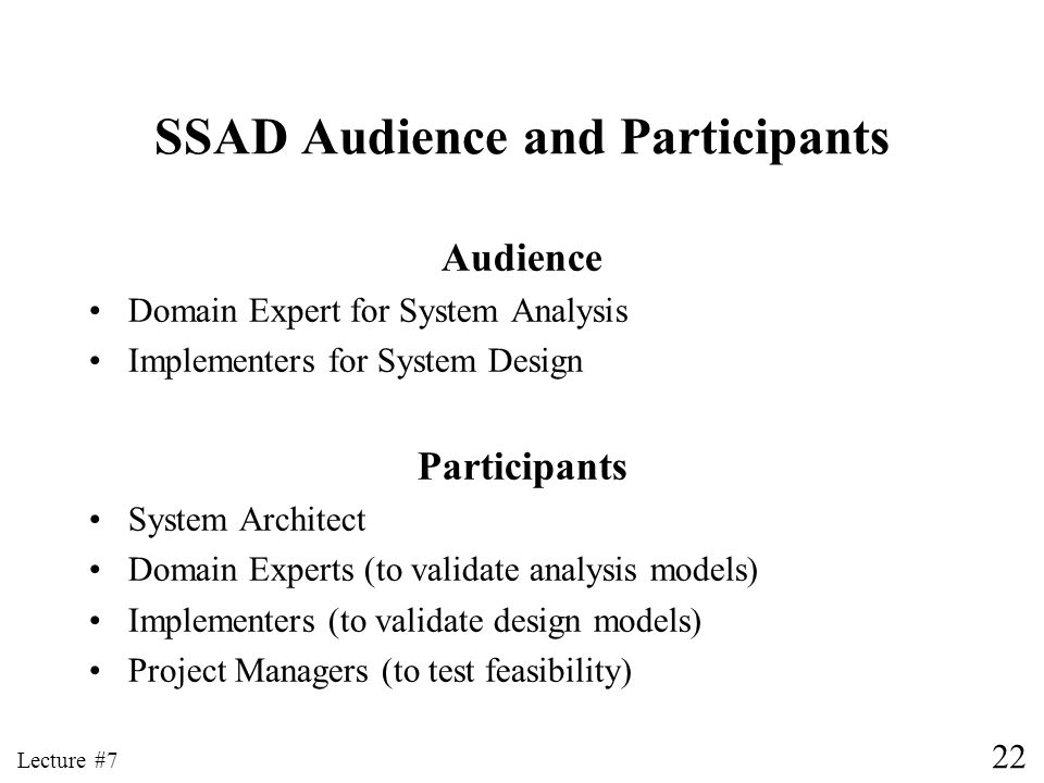 SSAD Audience and Participants