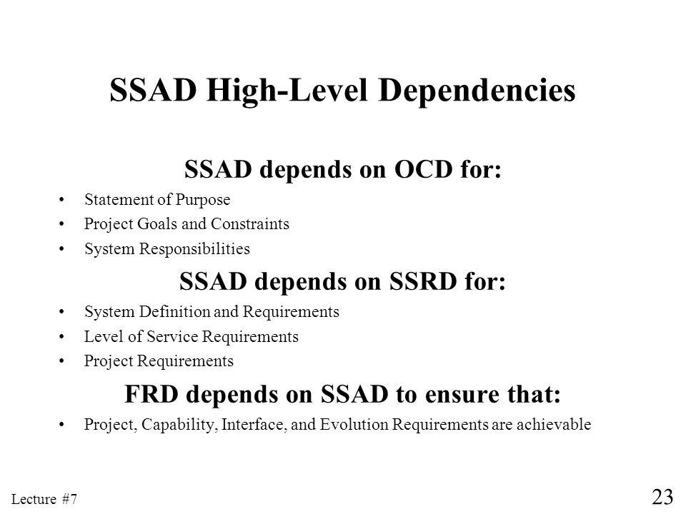 SSAD High-Level Dependencies