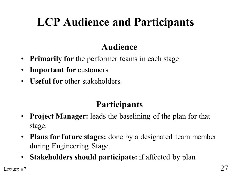 LCP Audience and Participants