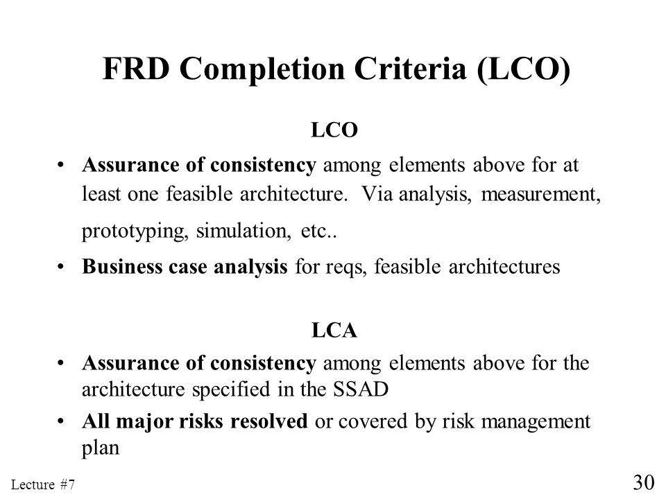 FRD Completion Criteria (LCO)