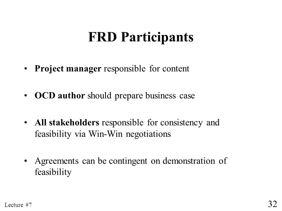 FRD Participants Project manager responsible for content