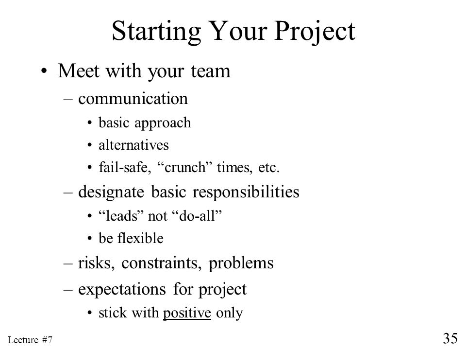 Starting Your Project Meet with your team communication