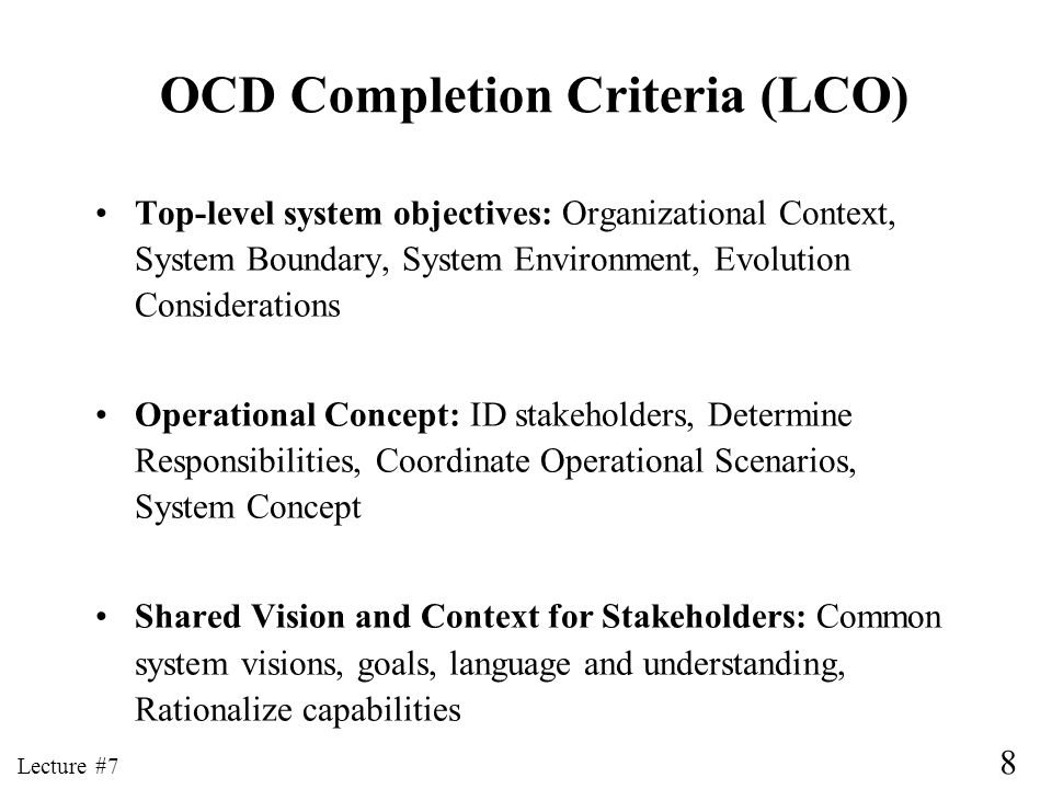 OCD Completion Criteria (LCO)