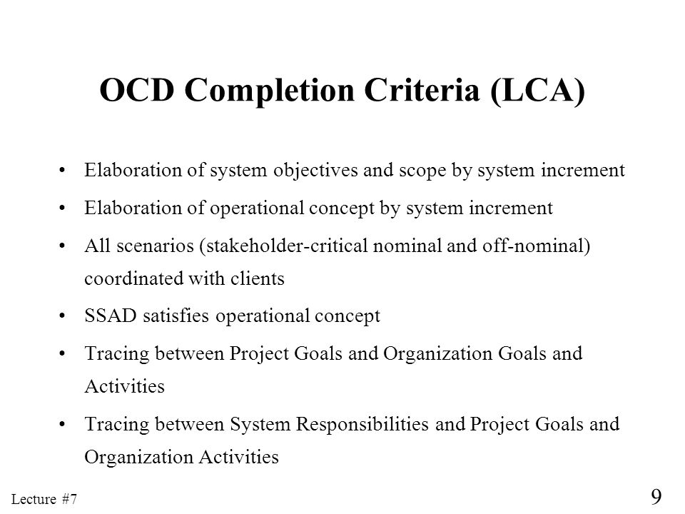 OCD Completion Criteria (LCA)