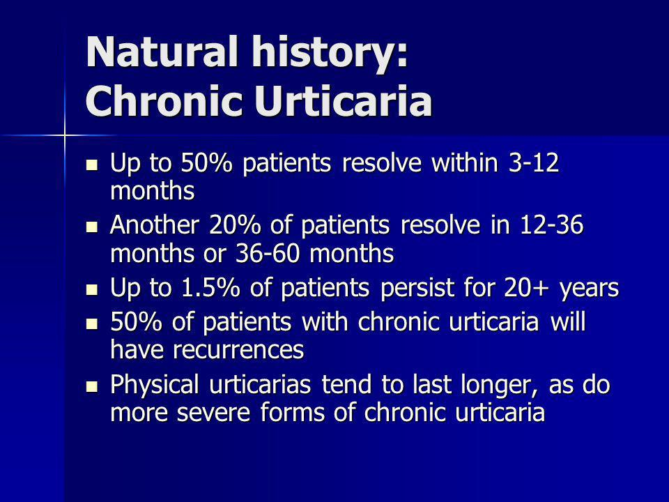 Natural history: Chronic Urticaria